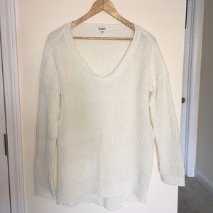 BB Dakota Oversized White V-Neck Sweater